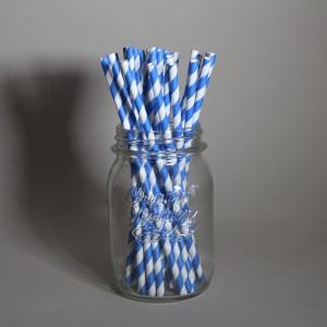 Tmavě modrá pruhovaná brčka 25 ks